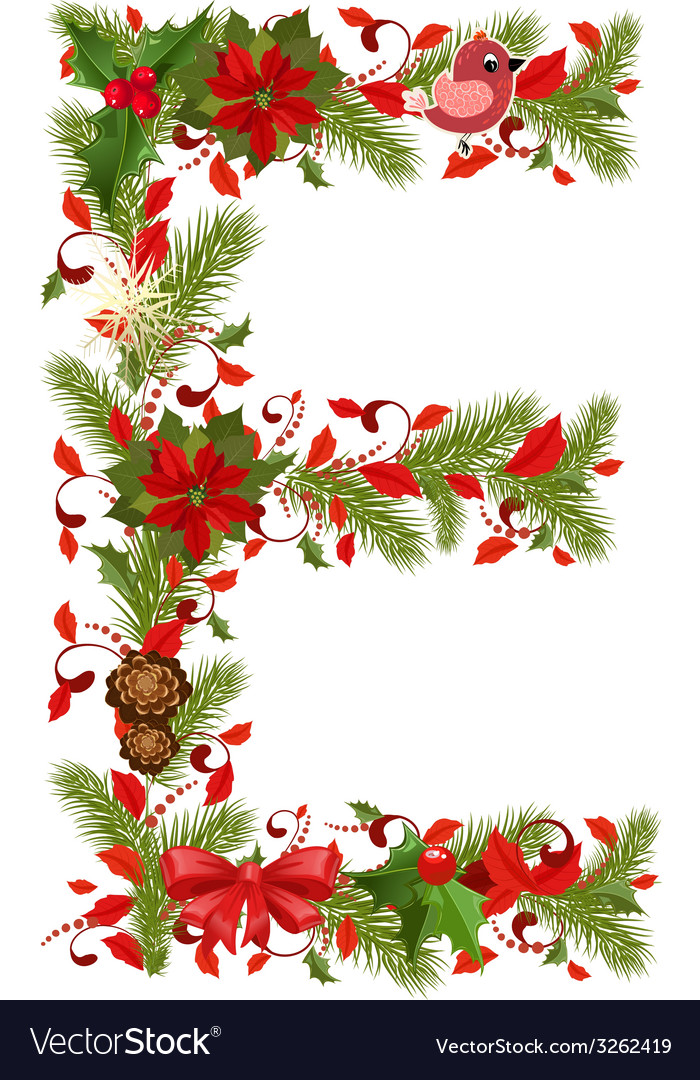 Christmas floral tree letter e vector | Price: 1 Credit (USD $1)