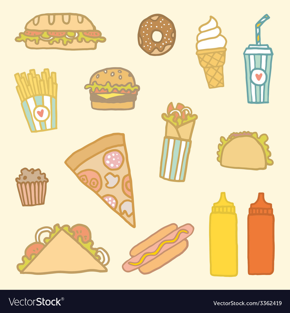 Fastfood cartoon set vector | Price: 1 Credit (USD $1)