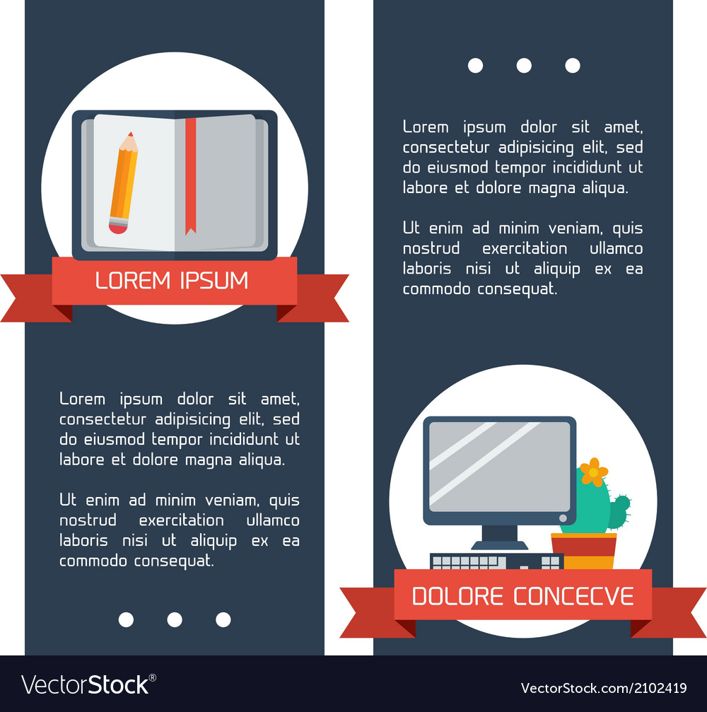 Flat infographic education banners vector | Price: 1 Credit (USD $1)