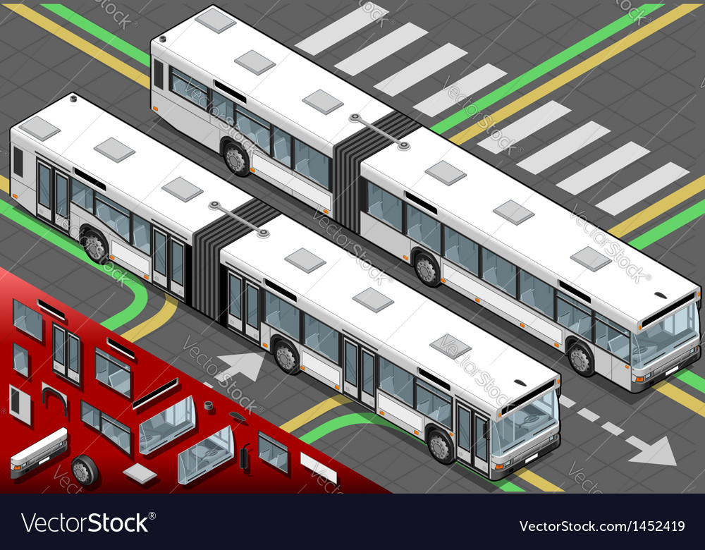 Isometric long bus in front view vector | Price: 1 Credit (USD $1)