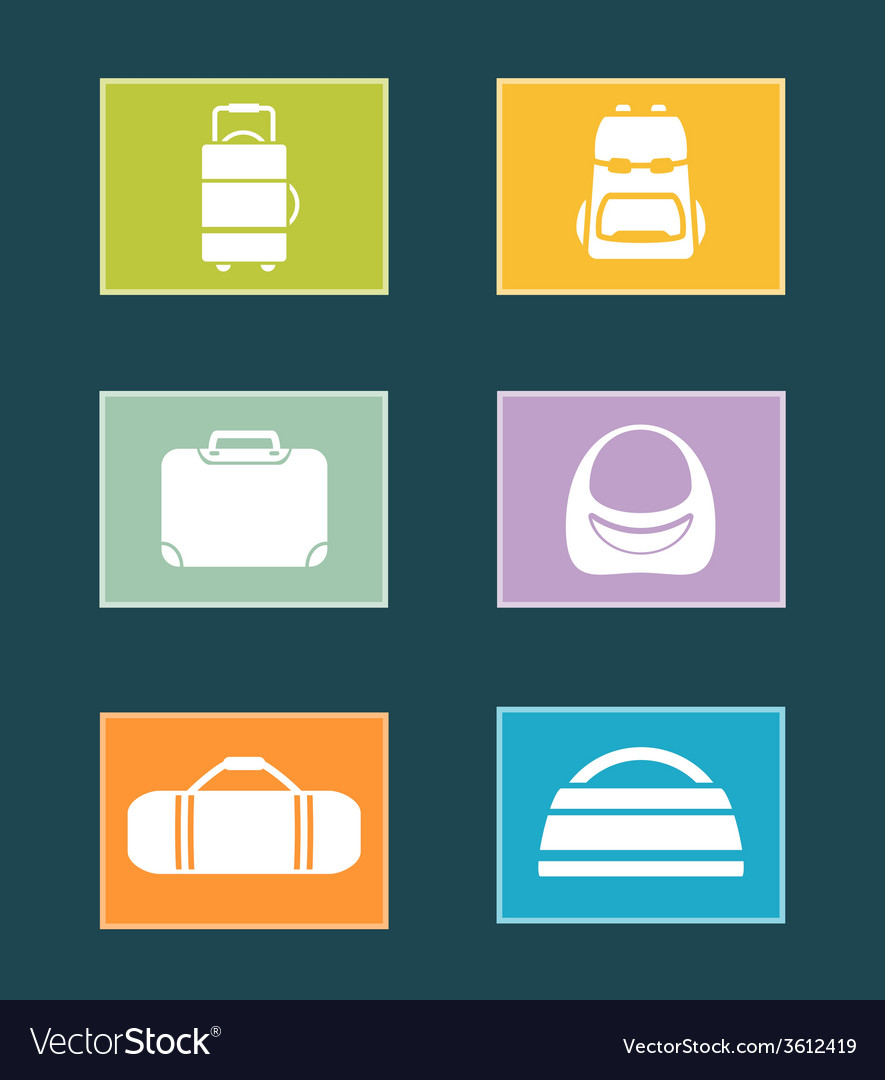 Set colorful icons with bags vector | Price: 1 Credit (USD $1)