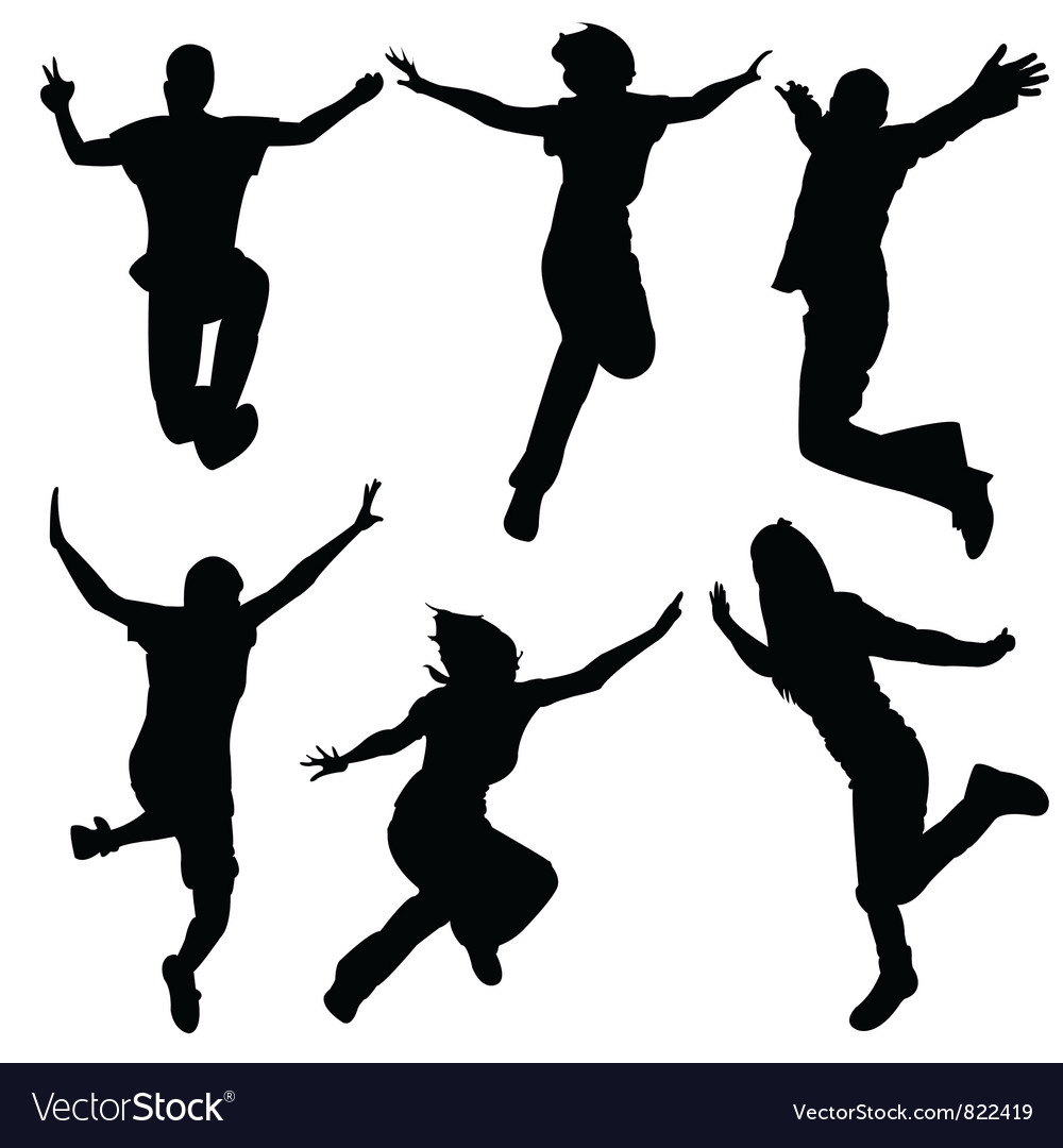 Silhouette people jumping dance vector | Price: 1 Credit (USD $1)