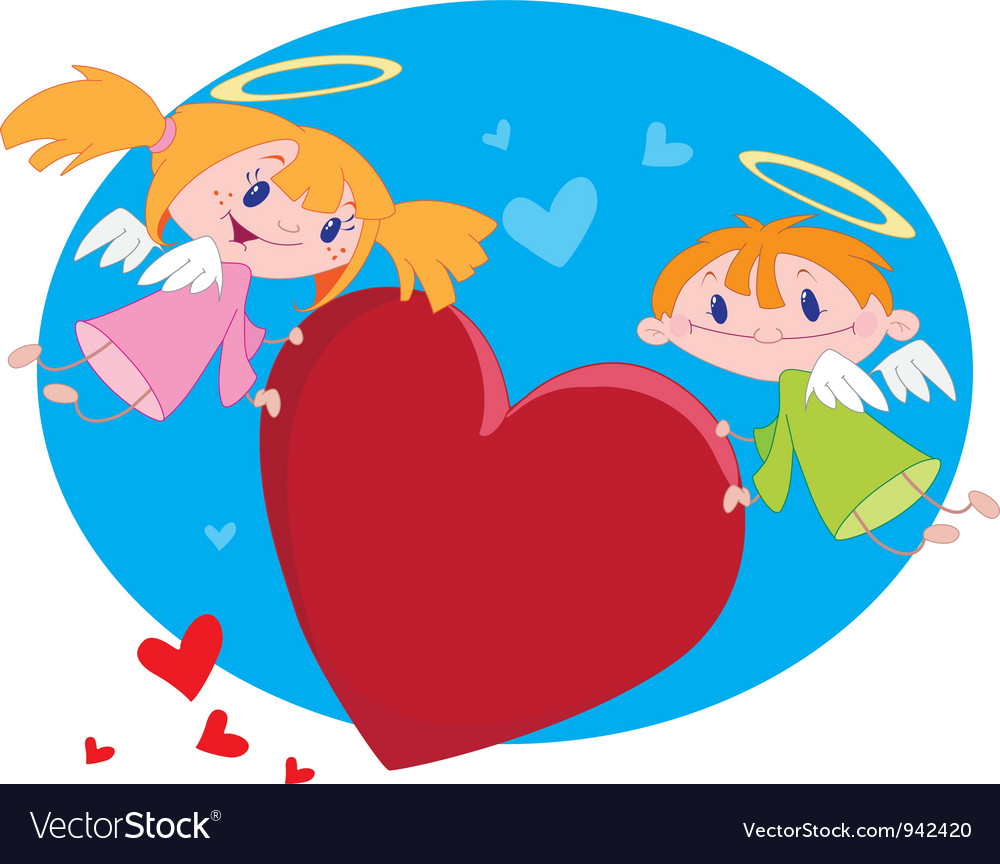 Angels and hearts vector | Price: 3 Credit (USD $3)
