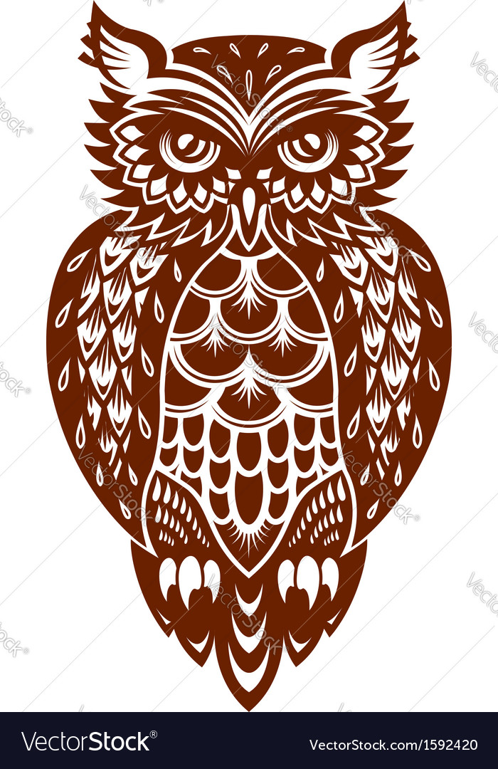 Brown owl vector | Price: 1 Credit (USD $1)