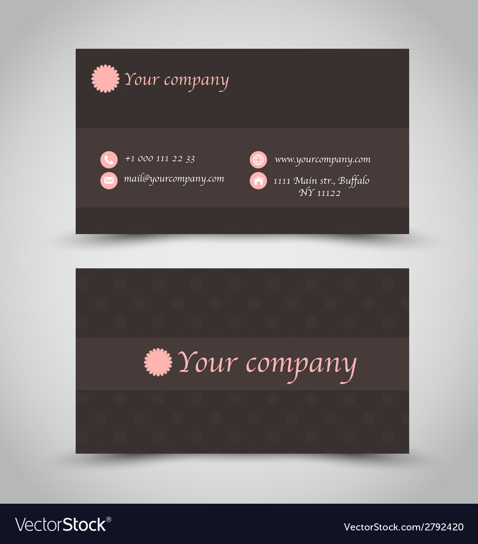 Business card set template brown chocolate color vector | Price: 1 Credit (USD $1)