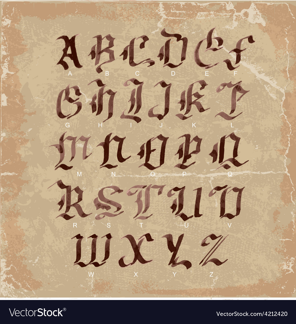 Hand drawn letters gothic style alphabet on vector | Price: 1 Credit (USD $1)