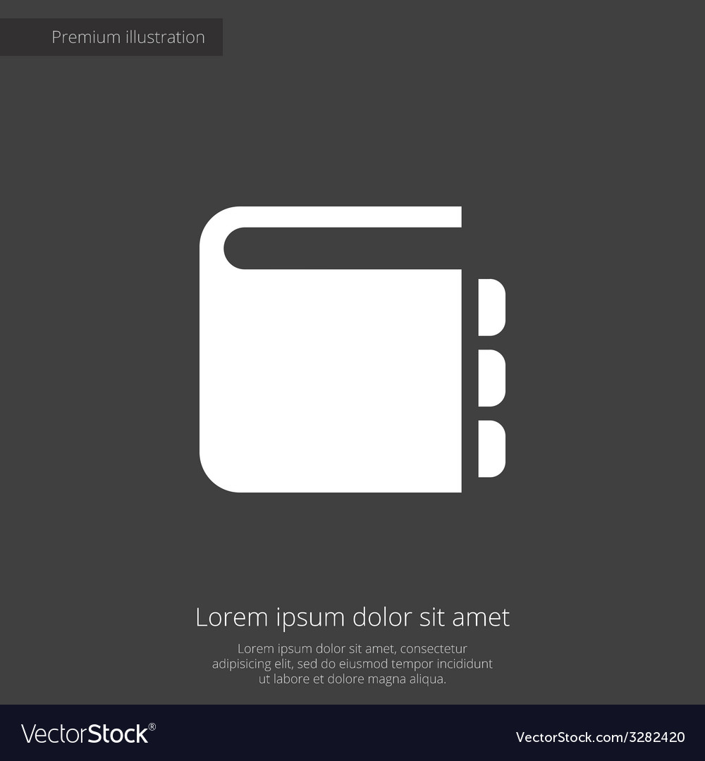 Notepad premium icon white on dark background vector | Price: 1 Credit (USD $1)