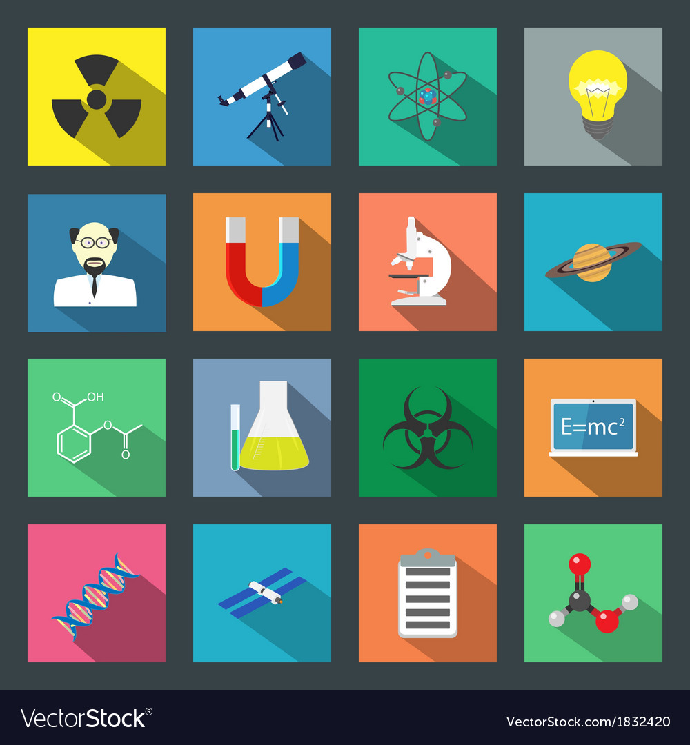 Science flat icons set vector | Price: 1 Credit (USD $1)