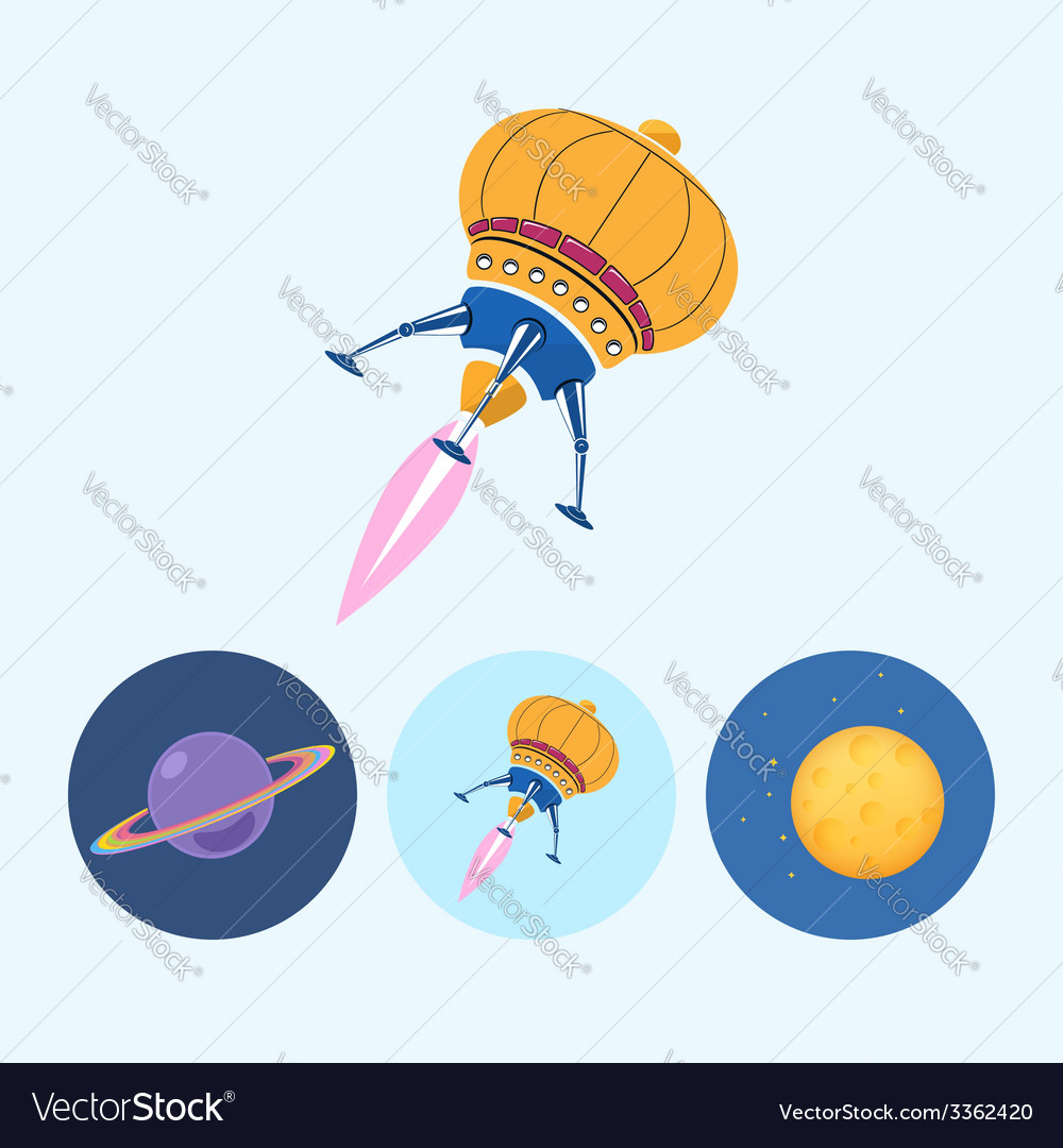 Set icons with saturn spaceship moon vector | Price: 1 Credit (USD $1)