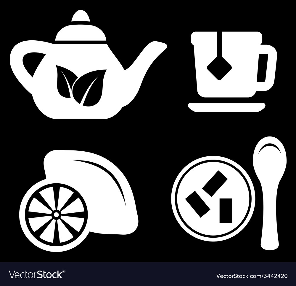 Set white tea objects vector | Price: 1 Credit (USD $1)