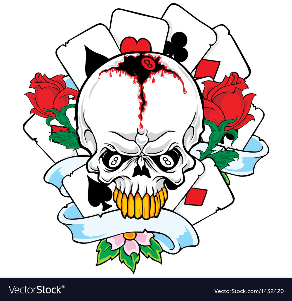 Skulls with playing cards vector | Price: 1 Credit (USD $1)