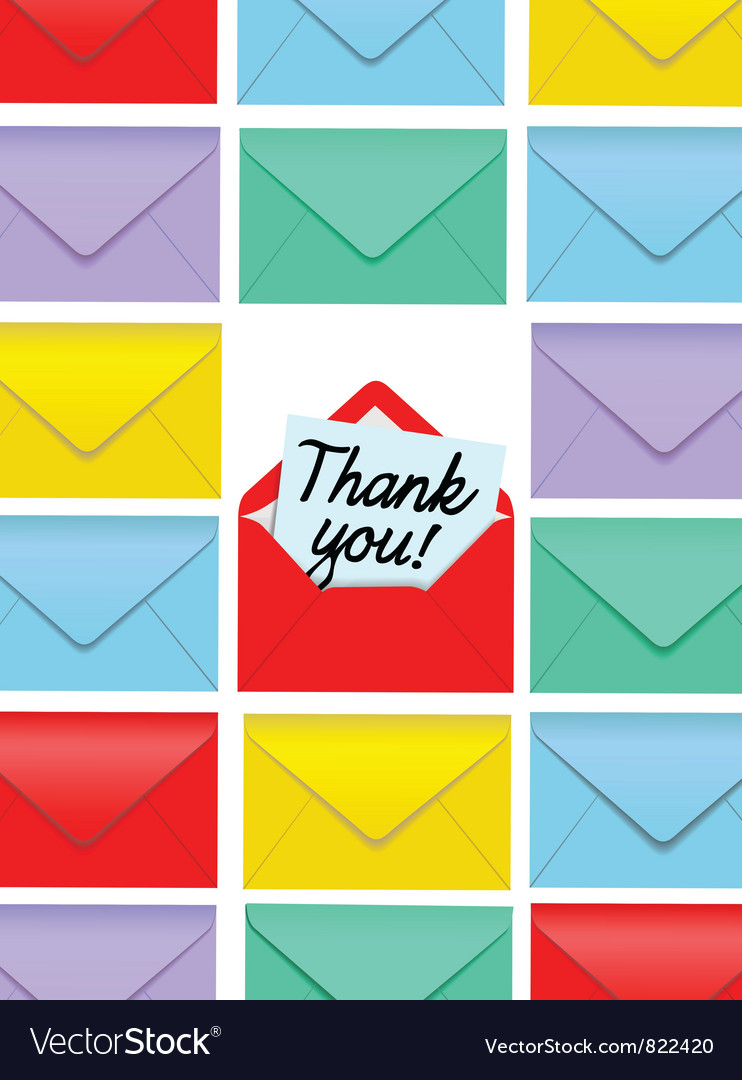 Thank you note envelopes vector | Price: 1 Credit (USD $1)