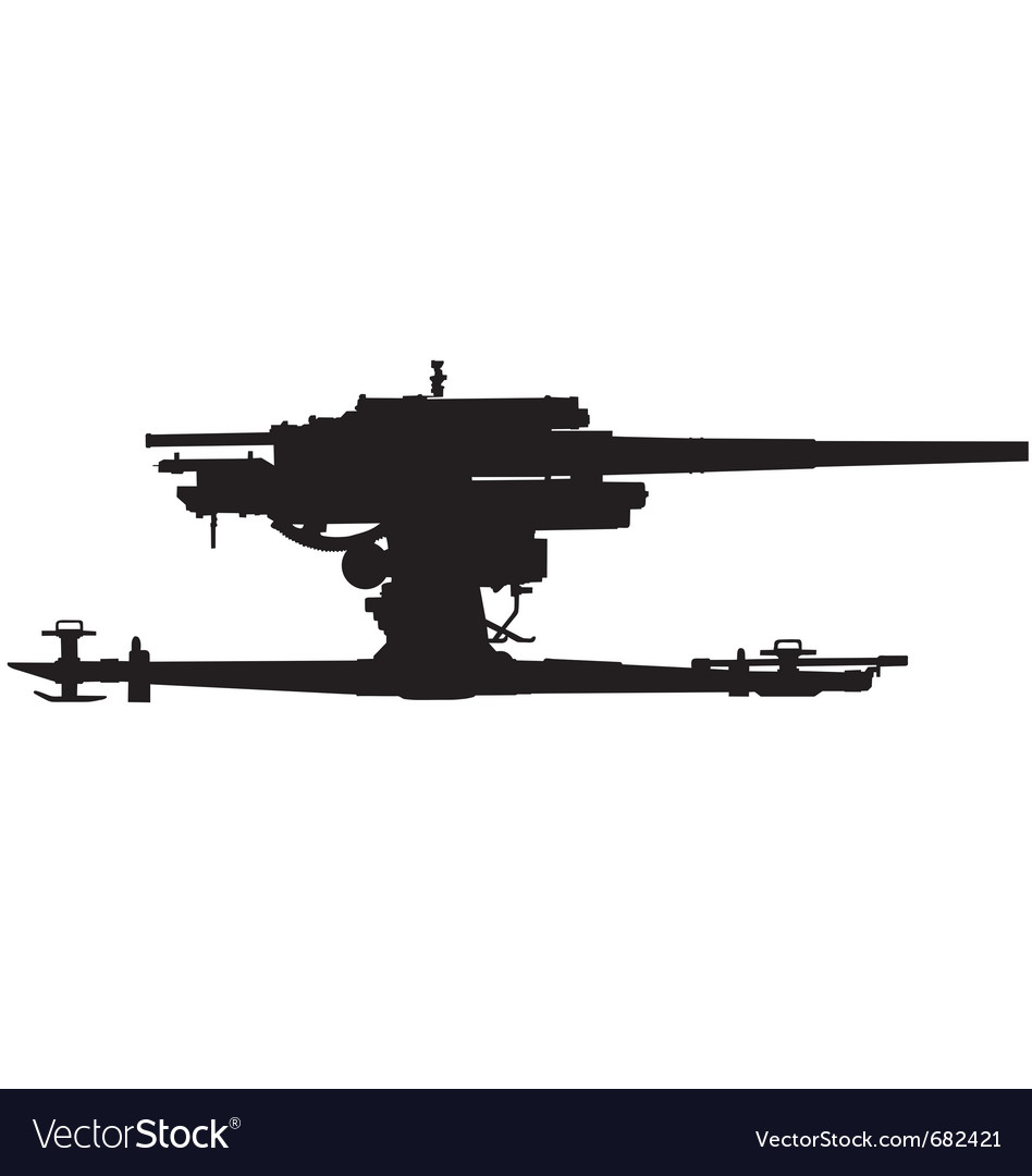 Anti aircraft gun silhouette vector | Price: 1 Credit (USD $1)
