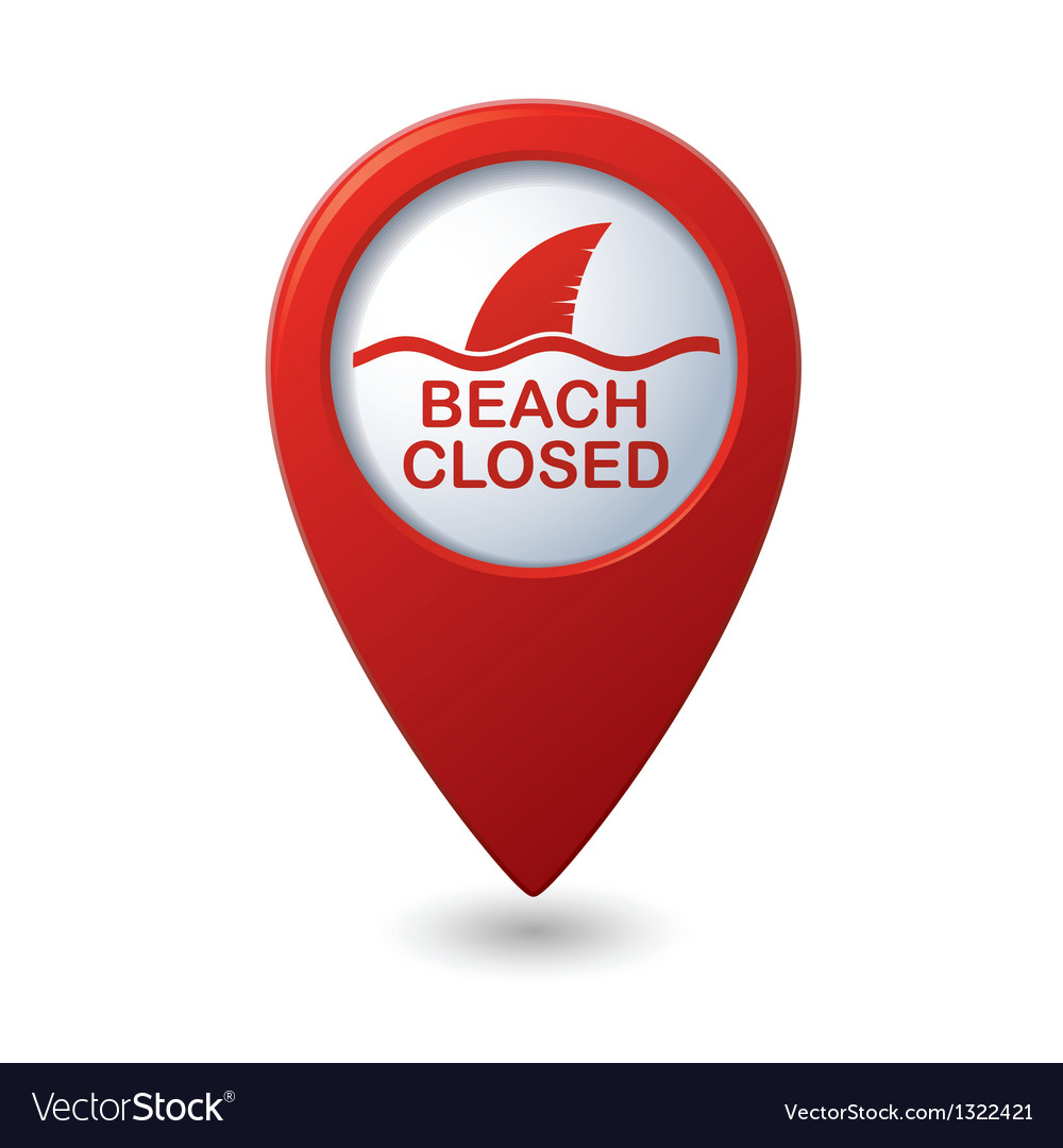 Beach closed sign on map pointer vector | Price: 1 Credit (USD $1)
