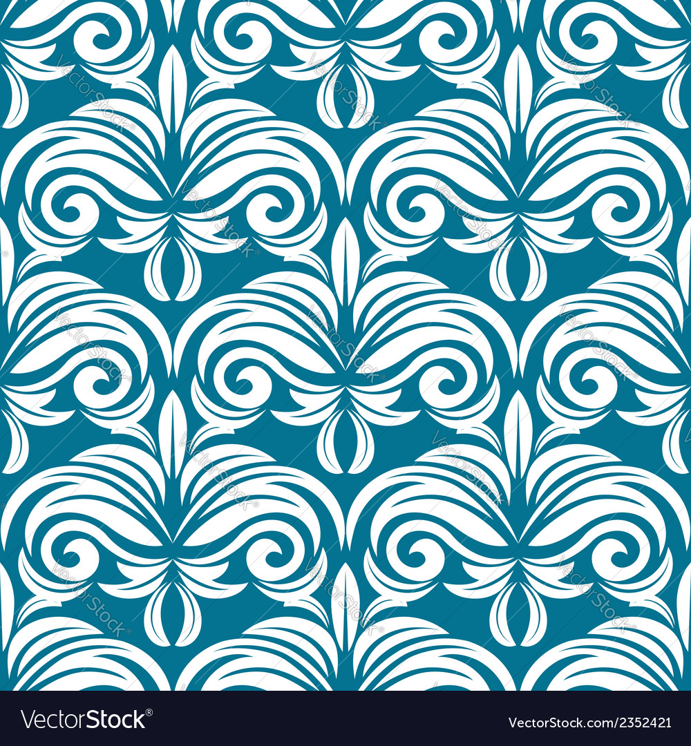 Blue and white seamless pattern vector | Price: 1 Credit (USD $1)