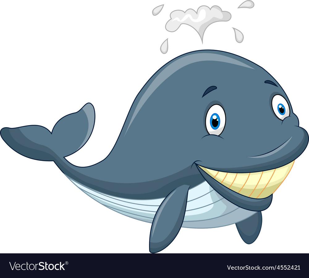 Happy cartoon whale vector | Price: 1 Credit (USD $1)