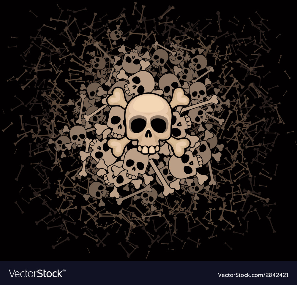 Heap of skulls and bones vector | Price: 1 Credit (USD $1)