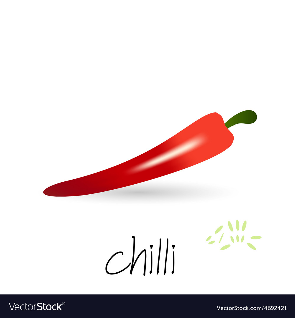 Red hot chilli pepper with seeds and shadow eps10 vector   Price: 1 Credit (USD $1)