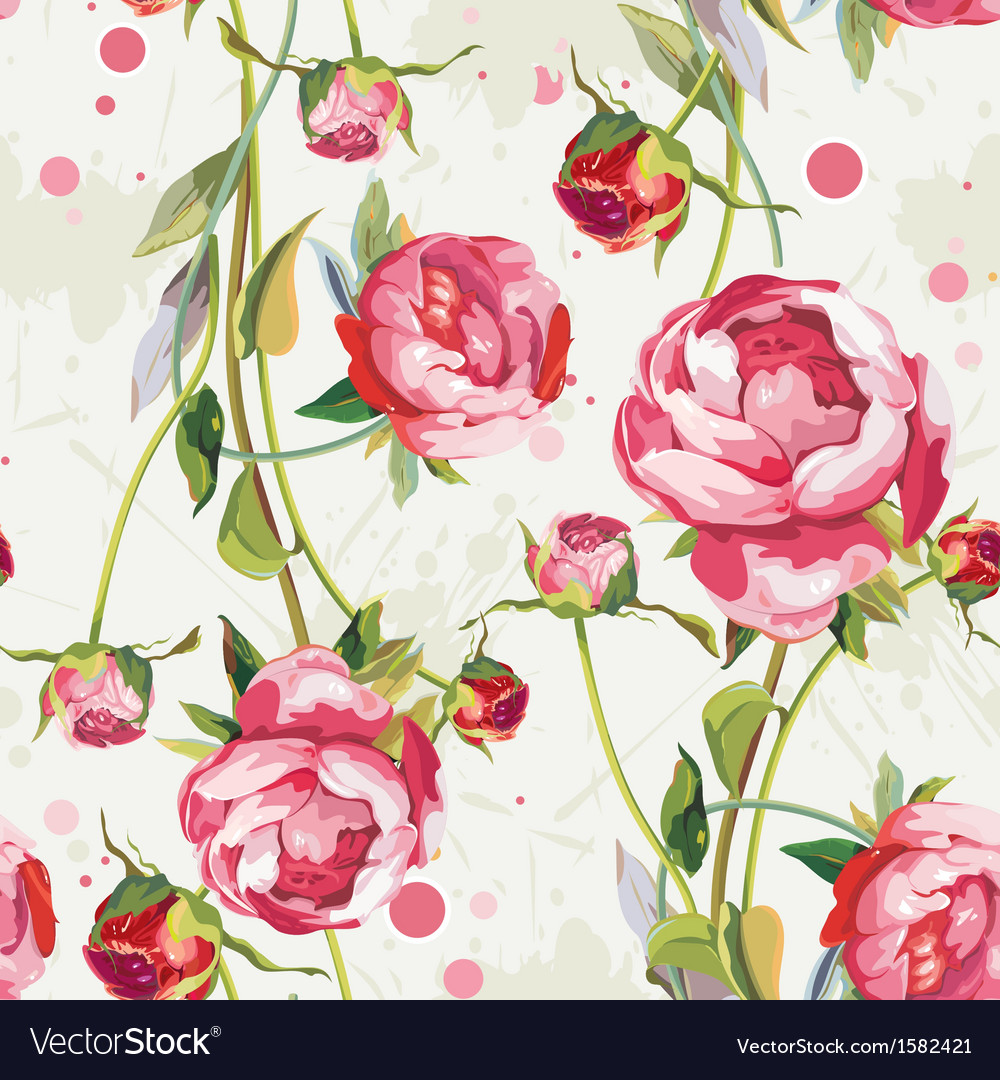 Seamless vintage floral background pattern vector | Price: 1 Credit (USD $1)
