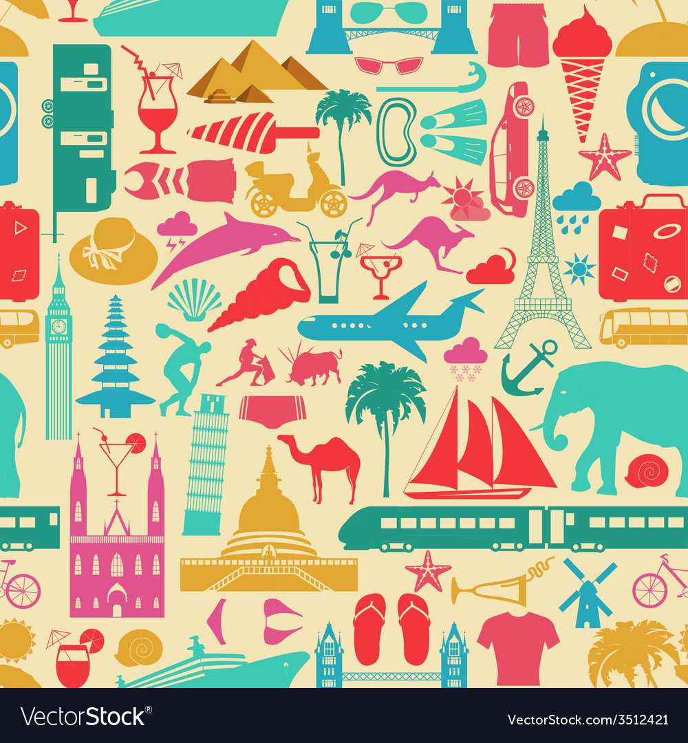 Travel background vacations beach resort seamless vector | Price: 1 Credit (USD $1)