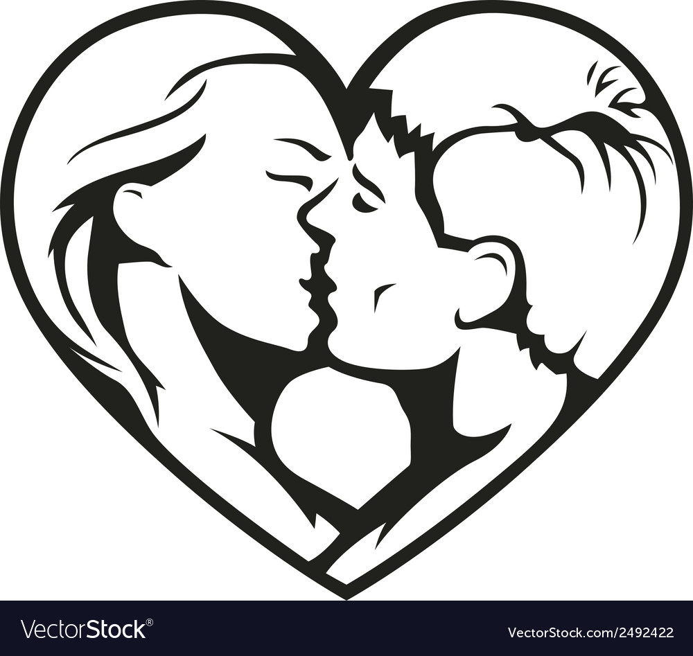 Couple kissing in the heart vector | Price: 1 Credit (USD $1)