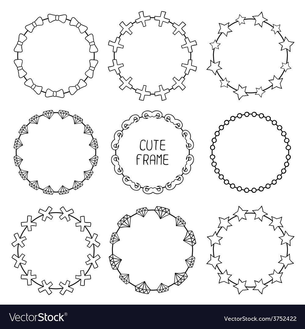 Hand drawn frames of fashion pattern with hipster vector | Price: 1 Credit (USD $1)