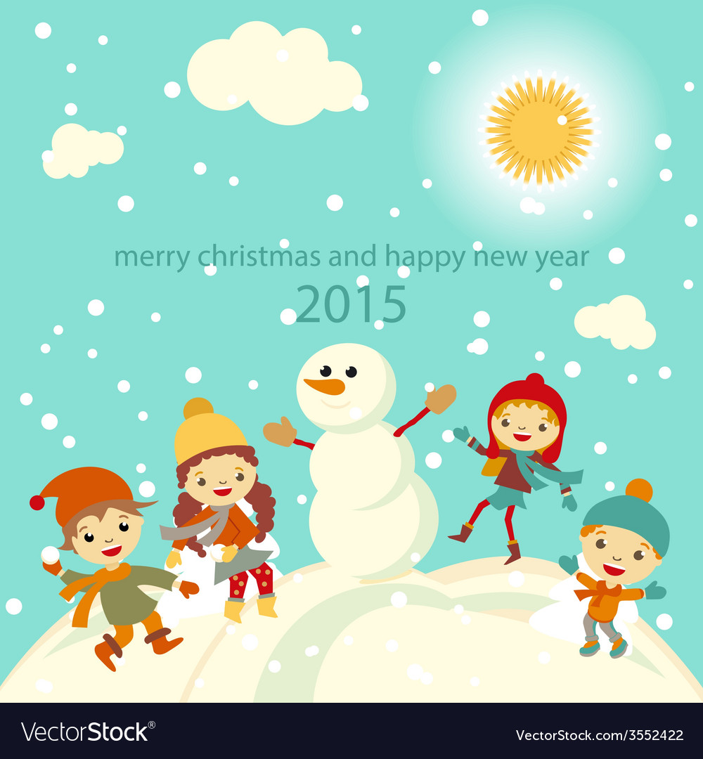 Happy kids playing with snow retro christmas card vector   Price: 1 Credit (USD $1)
