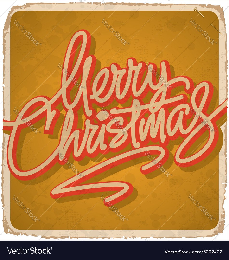 Merry christmas hand lettering vintage card vector | Price: 1 Credit (USD $1)