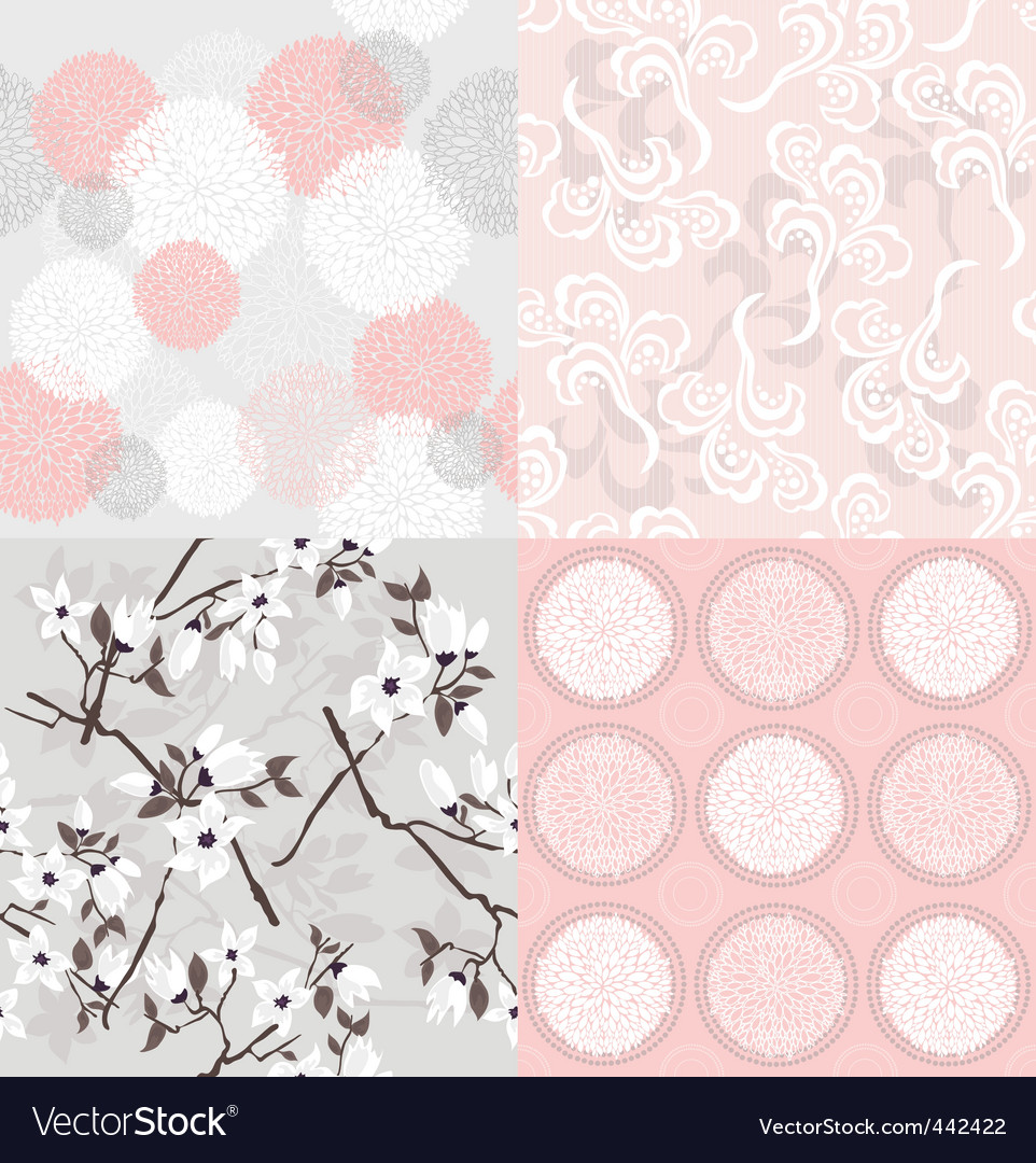 Set of seamless floral pattern vector | Price: 1 Credit (USD $1)