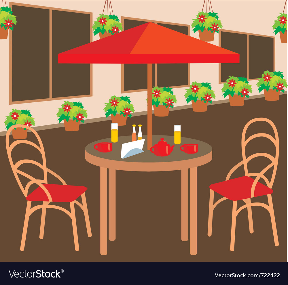 Summer street cafe vector | Price: 1 Credit (USD $1)