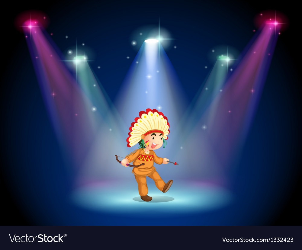 An indian boy dancing with spotlights vector | Price: 1 Credit (USD $1)