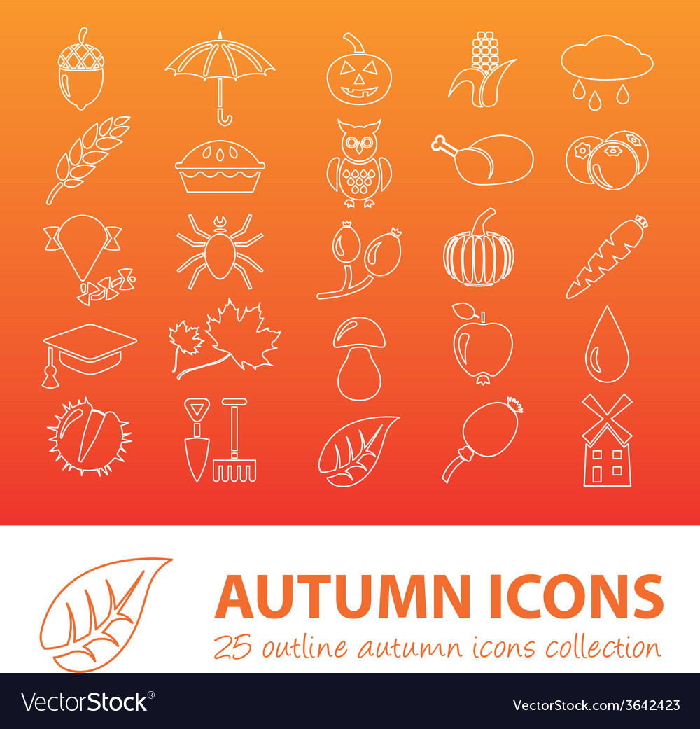 Autumn outline icons vector | Price: 1 Credit (USD $1)