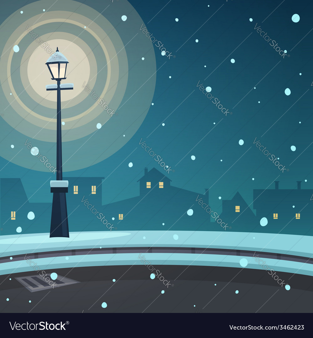 City in the snow vector | Price: 3 Credit (USD $3)