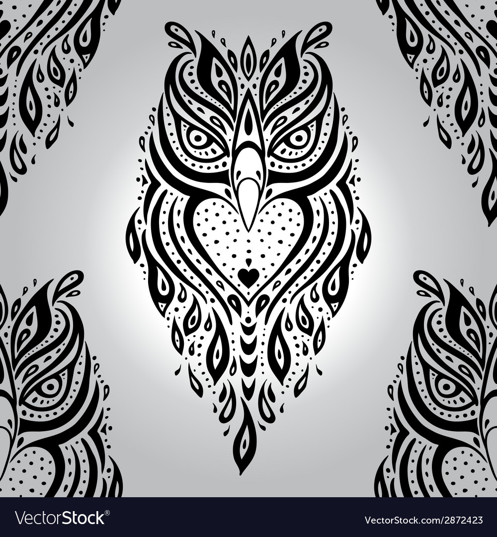 Decorative owl seamless pattern vector | Price: 1 Credit (USD $1)