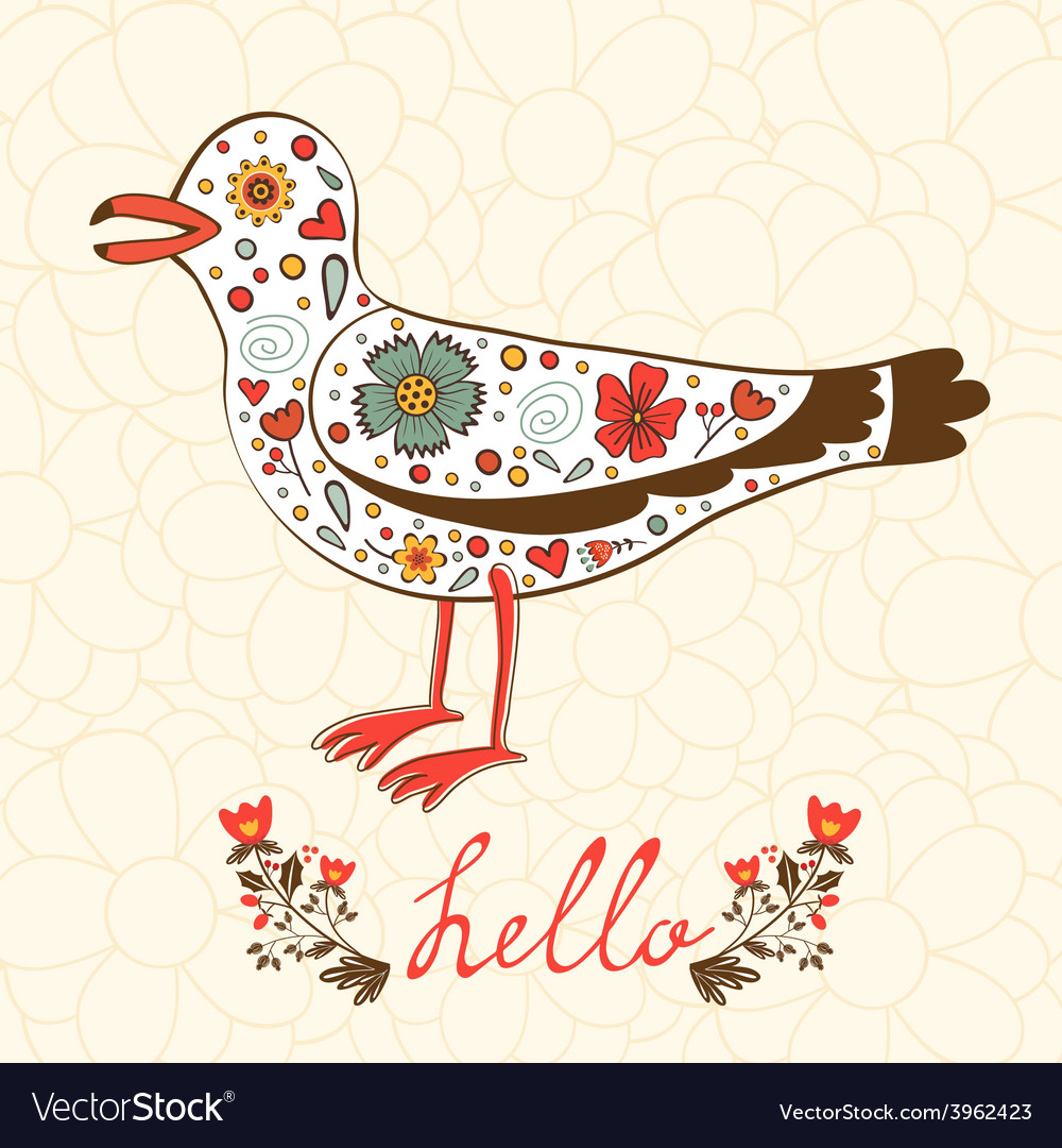 Elegant hello card with flying seagull vector | Price: 1 Credit (USD $1)