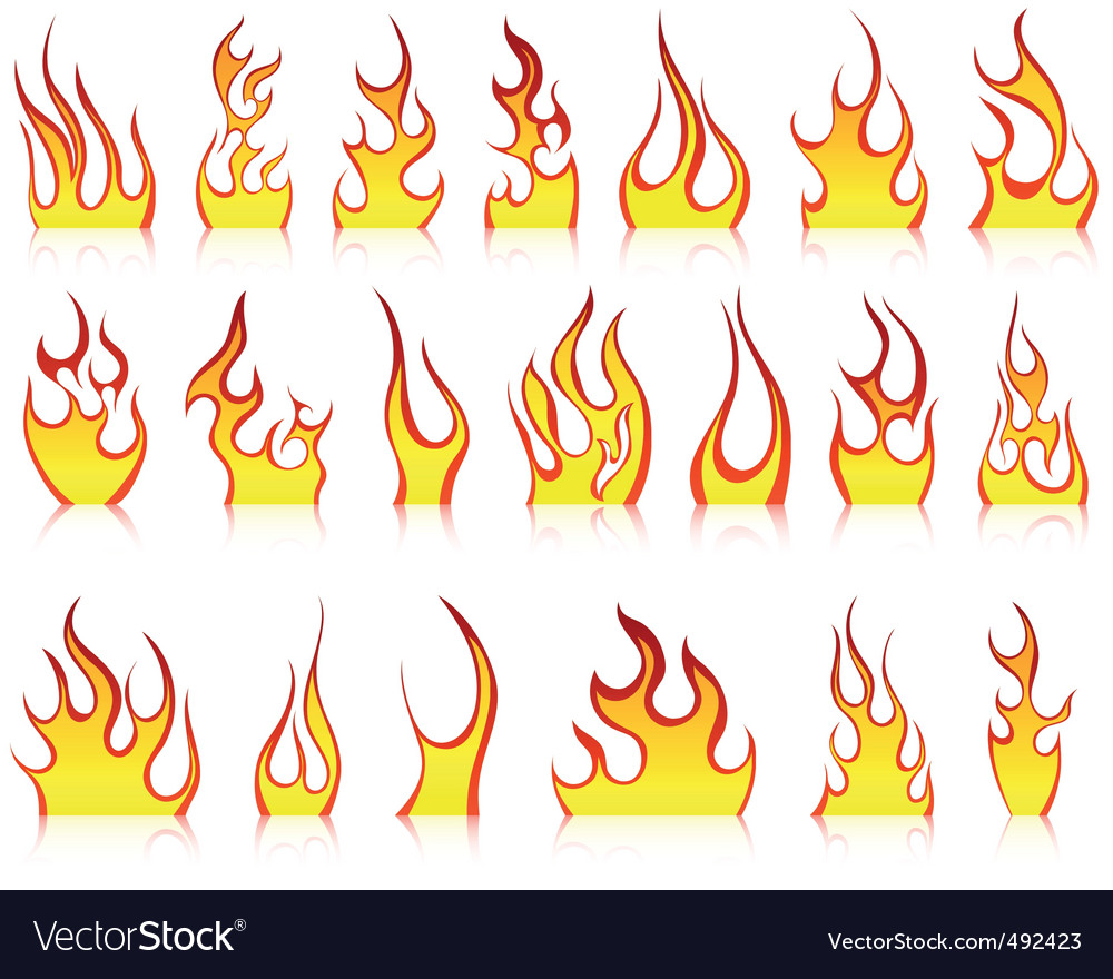 Fire icon set vector | Price: 1 Credit (USD $1)