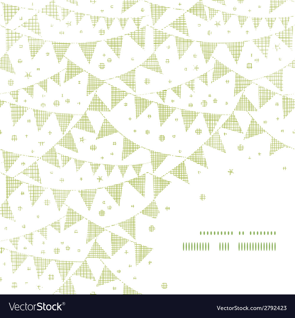 Green textile party bunting frame corner pattern vector | Price: 1 Credit (USD $1)