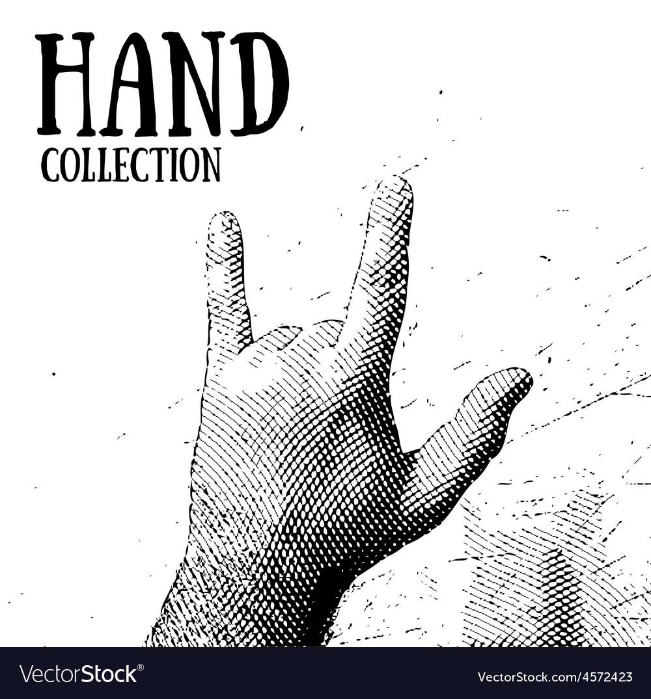 Hand rocknroll vector | Price: 1 Credit (USD $1)