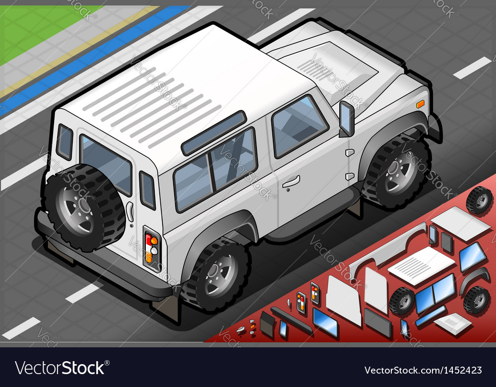 Isometric white cross country vehicle in rear view vector | Price: 1 Credit (USD $1)
