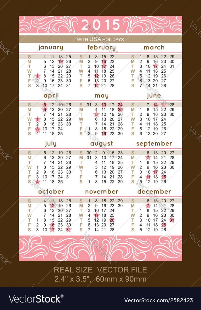 Pink pocket calendar 2015 with usa holidays vector   Price: 1 Credit (USD $1)