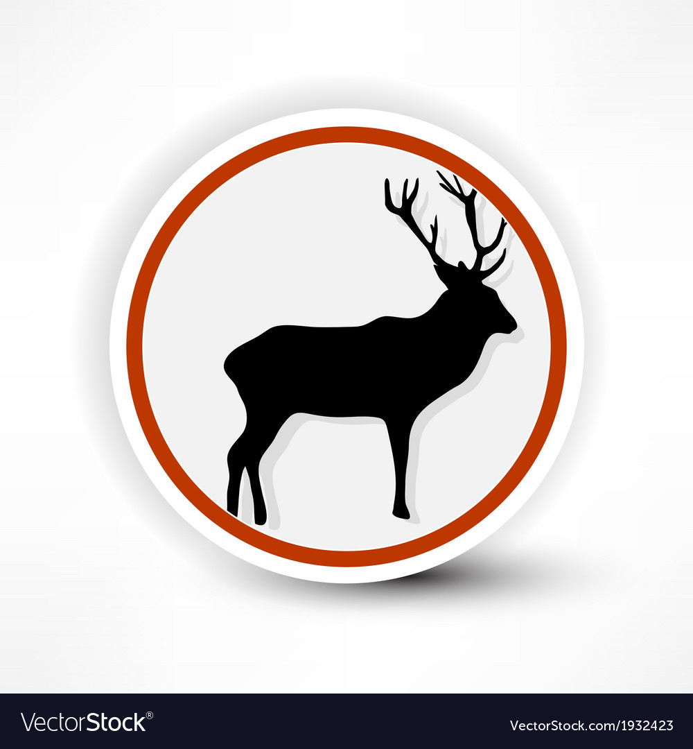 Prohibited from shooting elk red mark on a white vector | Price: 1 Credit (USD $1)