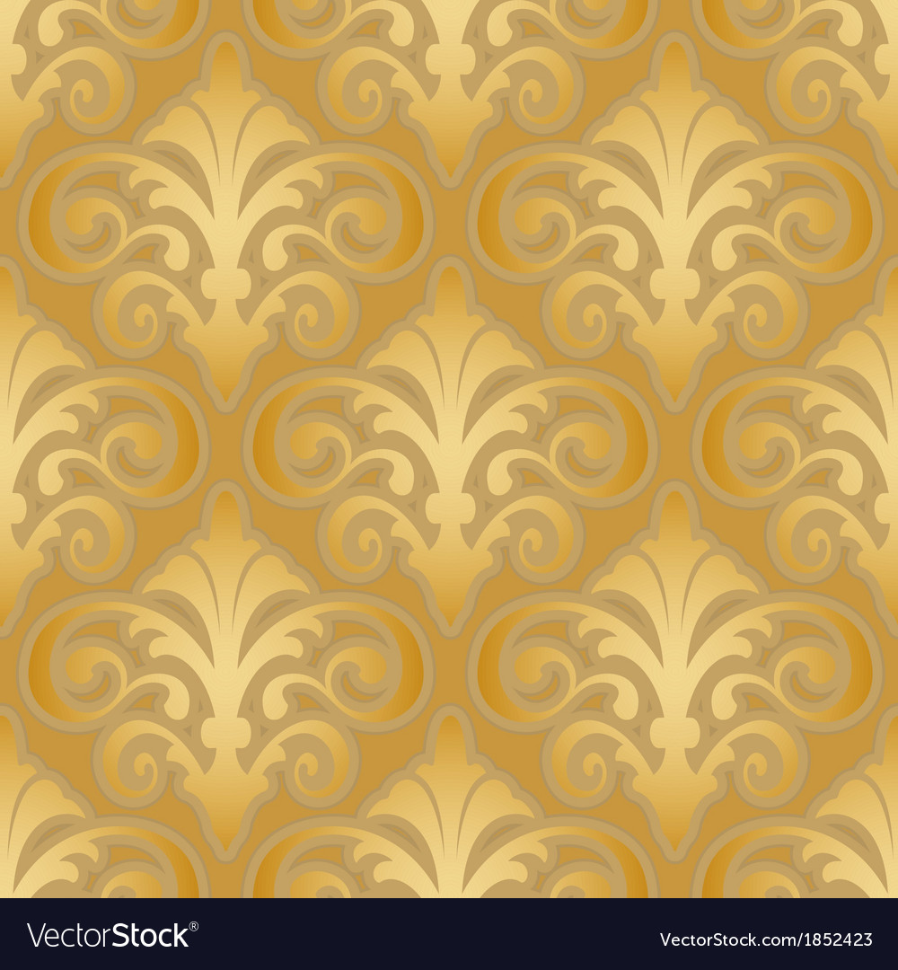 Seamless gold silk wallpaper pattern vector | Price: 1 Credit (USD $1)