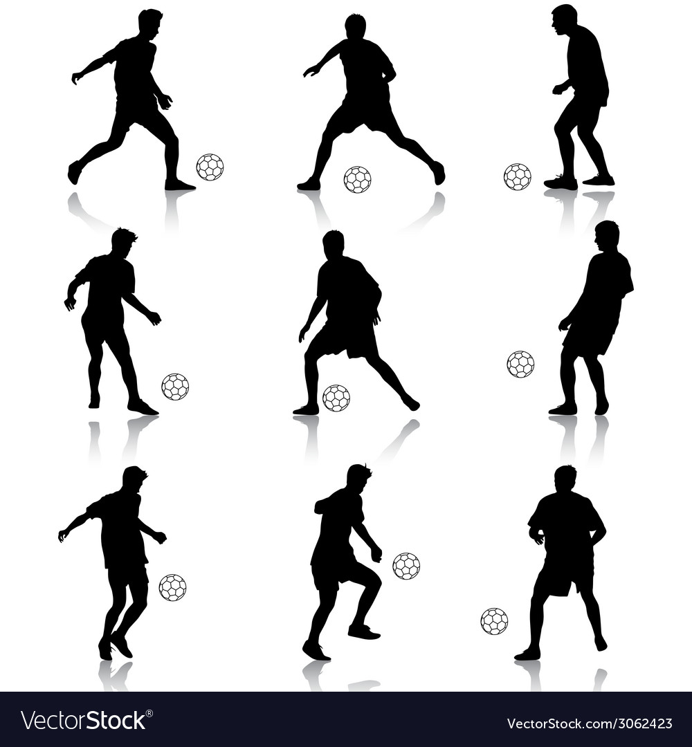 Silhouettes of soccer players with the ball vector | Price: 1 Credit (USD $1)