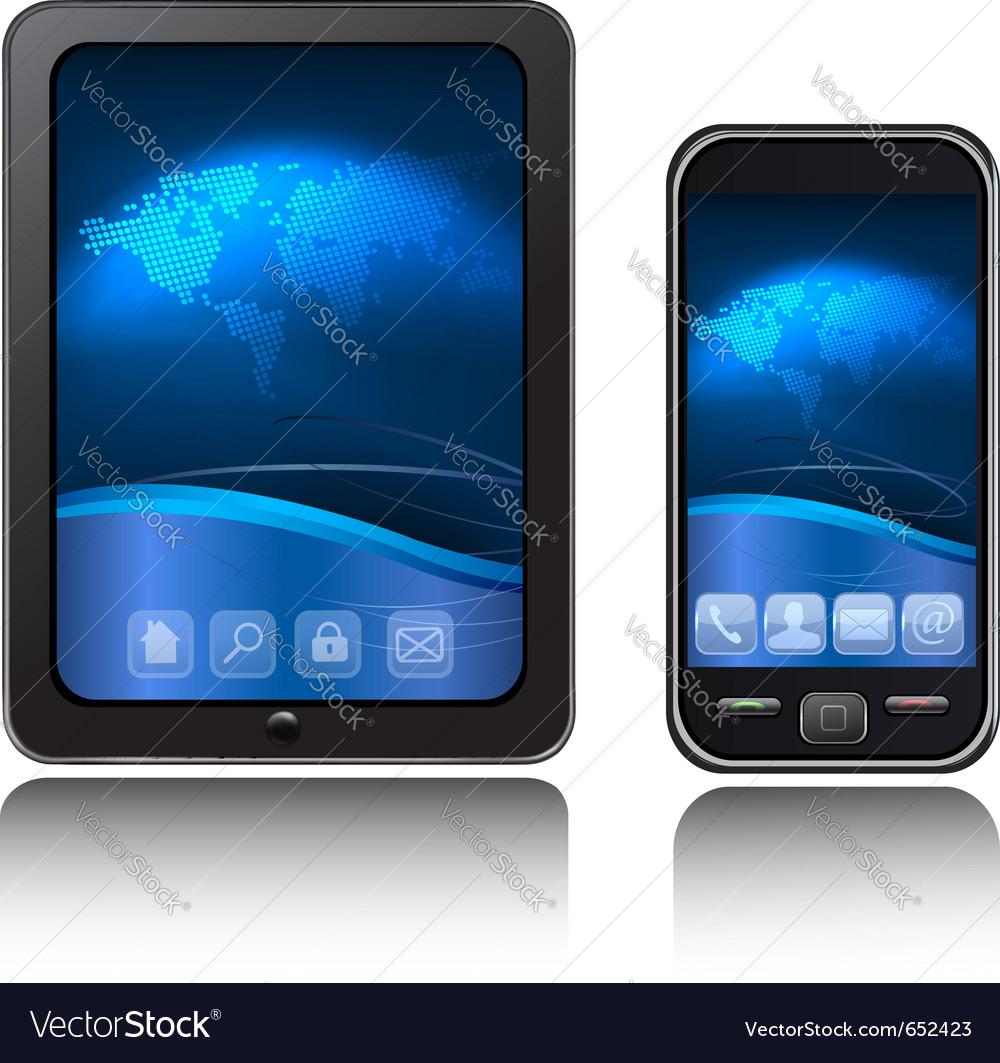 Tablet computer and mobile phone vector | Price: 1 Credit (USD $1)