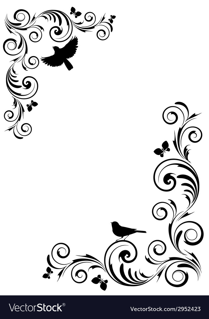 Vignette with birds vector | Price: 1 Credit (USD $1)