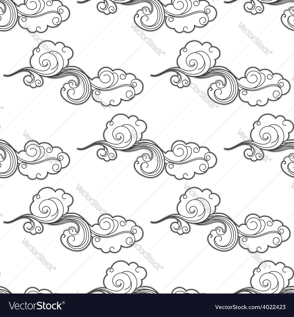Vintage doodle cartoon clouds seamless pattern vector | Price: 1 Credit (USD $1)