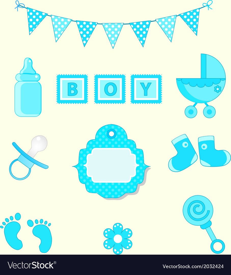 Baby boy set of design element for scrapbook and vector | Price: 1 Credit (USD $1)