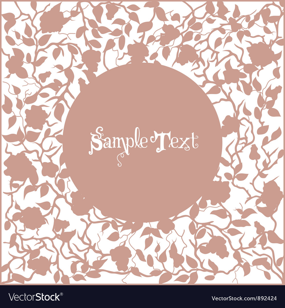 Card with pink frame from branches and roses vector | Price: 1 Credit (USD $1)