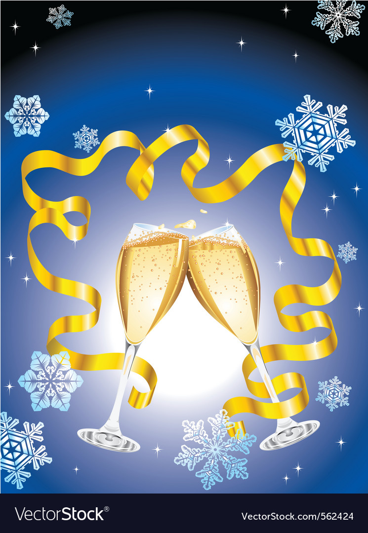 Christmas postcard with two glass of champagne vector | Price: 1 Credit (USD $1)