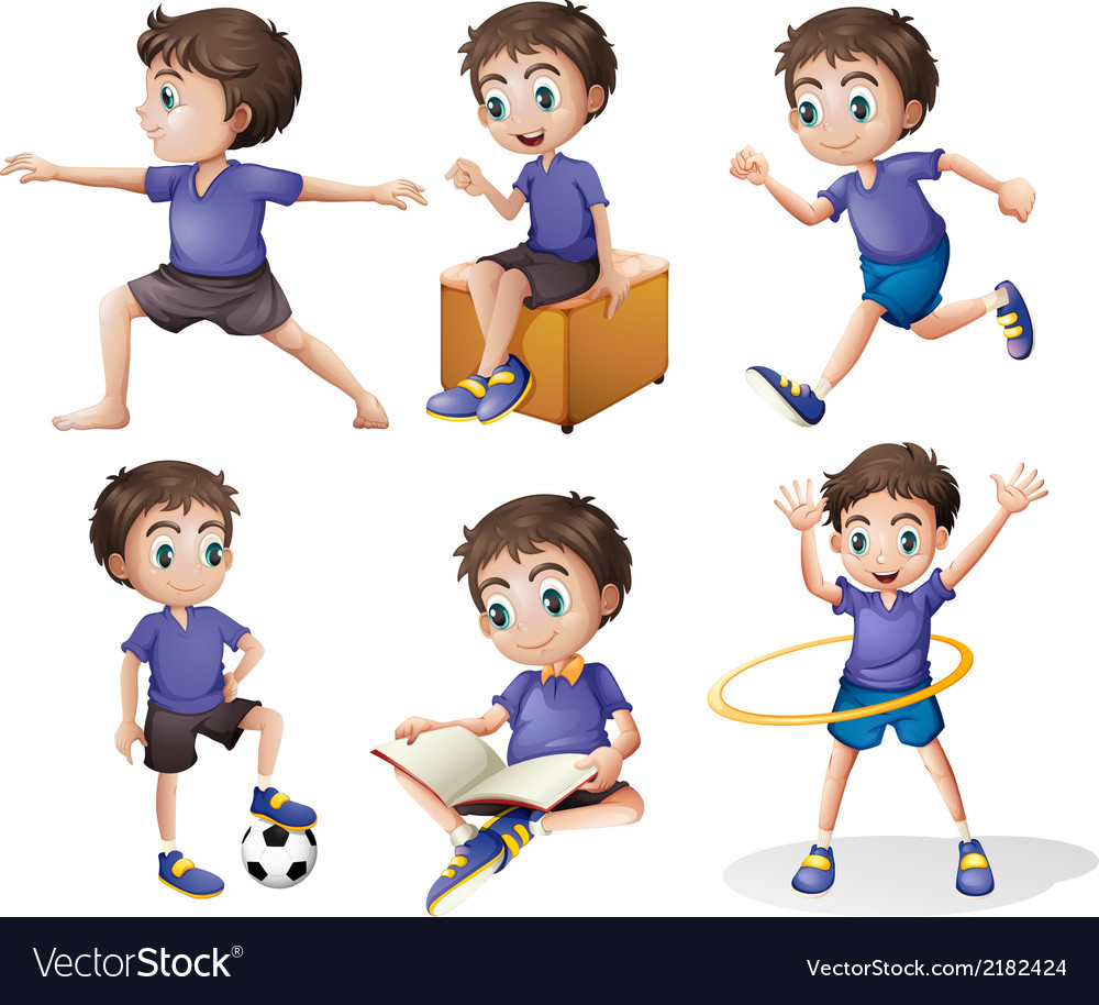 Different activities of a young boy vector | Price: 1 Credit (USD $1)